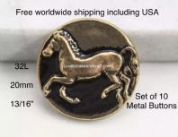 Horse buttons, Pony buttons, Designer buttons, Gold metal. Free worldwide shipping (2)